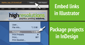 Embed links and package files in Illustrator and InDesign