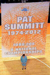 Pat Summit with banner