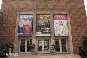 Entrance to the McClung museum with several large banners produced by High Resolutions